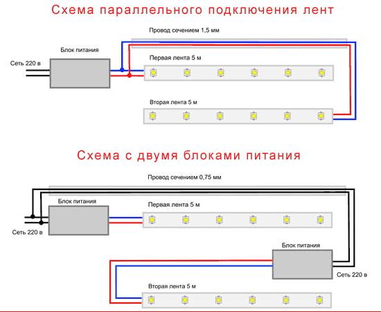 Схемы подключения светодиодной